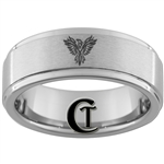 8mm 1-Step Pipe Tungsten Phoenix Designed Satin Center Ring