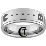 8mm One-Step Pipe Satin Finish PAC-MAN Design Tungsten Carbide Ring.
