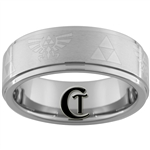 8mm 1-Step Pipe Tungsten Legend of Zelda Skyward Sword Triforce Designed Satin Center Ring