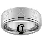 8mm Pipe One-Step Satin Finish Tungsten Stargate Gate Address Ring