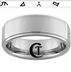 8mm Pipe One-Step Satin Finish Tungsten Stargate Ring.