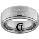 8mm 1-Step Pipe Satin Center Tungsten Custom Zelda Song of Storms Designed Ring