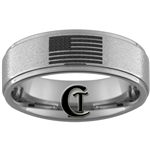 8mm One Step Pipe Stone Finish Tungsten Carbide Flag Ring Design.