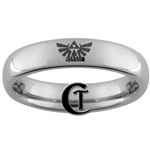 4mm Dome Tungsten Legend of Zelda Hyrule Crest Designed Polished Ring.