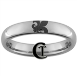 4mm Dome Tungsten Carbide Fleur De Lis Design Ring.