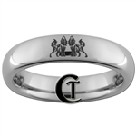 4mm Dome Tungsten Carbide Wolves & Infinity Knot Lasered Design Ring.