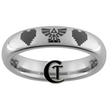 4mm Dome Tungsten Carbide Legend of Zelda 8-Bit Hearts Skyward Sword Design Ring.