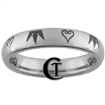 4mm Dome Tungsten Carbide Kingdom Hearts & Crown Design Ring.
