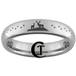 4mm Dome Tungsten Carbide Deer Hunting & Tracks Design Ring.