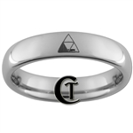 4mm Dome Tungsten Legend of Zelda Missing Triforce & Hylian Design Ring.
