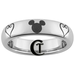 4mm Dome Tungsten Carbide Kingdom Hearts & Mickey Design Ring.