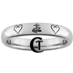 4mm Dome Tungsten Carbide MARINES and Kingdom Hearts Ring Design.