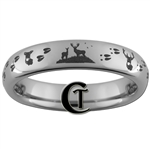 4mm Dome Tungsten Carbide Buck and Doe Deer Tracks Hunting Design Ring.