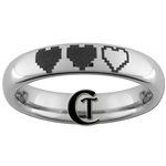 4mm Polished Tungsten Zelda 8-Bit Heart Design Ring.