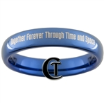 4mm Dome Blue Tungsten Carbide Doctor Who Quote Design.
