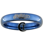 4mm Dome Blue Tungsten Carbide Doctor Who Gallifreyan and Quote Design.