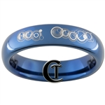 4mm Blue Dome Tungsten Carbide Doctor Who Gallifreyan- Her Beast Design Ring.
