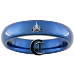 4mm Blue Dome Tungsten Carbide  Klingon Empire Design Ring.