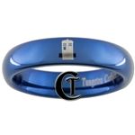 4mm Blue Dome Tungsten Carbide  Doctor Who Tardis Design Ring.