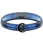 4mm Dome Blue Tungsten Carbide Doctor Who Design Ring.