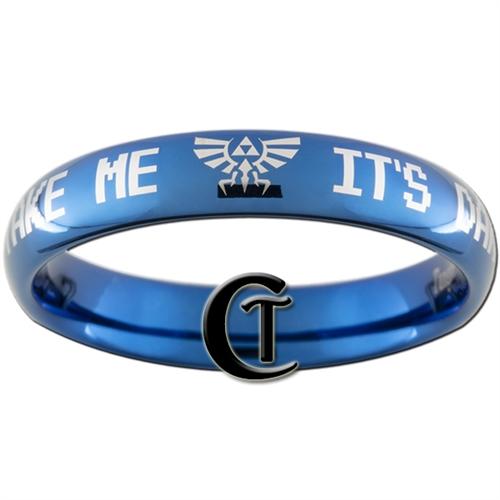 4mm Blue Dome Tungsten Carbide Zelda It's Dangerous To Go Alone Take Me  Design