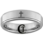 6mm 1-Step Pipe Tungsten Carbide Christian Cross Design Ring.