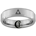 6mm Beveled Tungsten Legend of Zelda Triforce Design Ring.