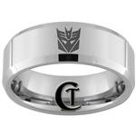 6mm Beveled Tungsten Transformers Decepticon Design Ring.
