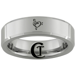 6mm Beveled Tungsten Carbide  Musical Heart Design Ring.