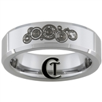 6mm Beveled Tungsten Carbide Doctor Who Design Ring.