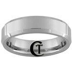 6mm Tungsten Beveled Carbide Comfort Fit  Polished Ring.