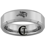 6mm Beveled Tungsten Carbide Wolf Design Ring.