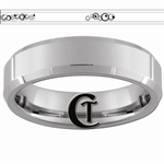 6mm Beveled Tungsten Carbide Doctor Who Gallifreyan Forever & Always Design Ring.