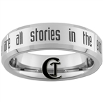 6mm Beveled Tungsten Carbide Doctor Who Quote- we are all stories in the end design.