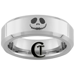 6mm Beveled Tungsten Nightmare Before Christmas Jack Skellington Face Ring Design.