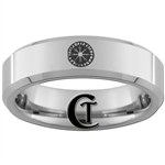 6mm Beveled Tungsten Wicca Protection Circle Ring.