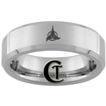6mm Beveled Tungsten Carbide Satin Finish Klingon Design.