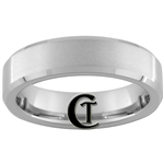 6mm Beveled Tungsten Carbide Satin Finish Ring.