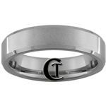 6mm Beveled Satin Tungsten Carbide Doctor Who Design Ring.