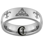 6mm Dome Tungsten Carbide Fleur De Lis and Celtic Triangle Design.