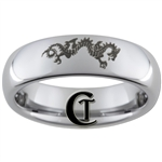 6mm Dome Tungsten Carbide  Dragon Design Ring.