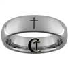 6mm Dome Tungsten Carbide Christian Cross Design Ring.