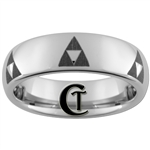 6mm Dome Tungsten Legend of Zelda Multiple Triforce Designed Polished Ring.