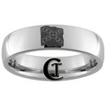 6mm Dome Tungsten Carbide Southern Flag Design Ring.