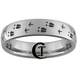 6mm Dome Tungsten Carbide Deer and Turkey Tracks Hunting Design Ring.