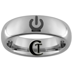 6mm Dome Tungsten Carbide Power Symbol Design Ring.