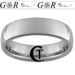 6mm Dome Tungsten Carbide Roses and Custom Initials Design Ring.