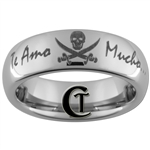 6mm Dome Tungsten Carbide Pirate Skull and Crossbones & Custom Phrase Design Ring.