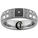 6mm Dome Tungsten Carbide  Doctor Who Double Tardis Design Ring.