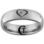 6mm Dome Tungsten Carbide Heart Babyprints Design Ring.
